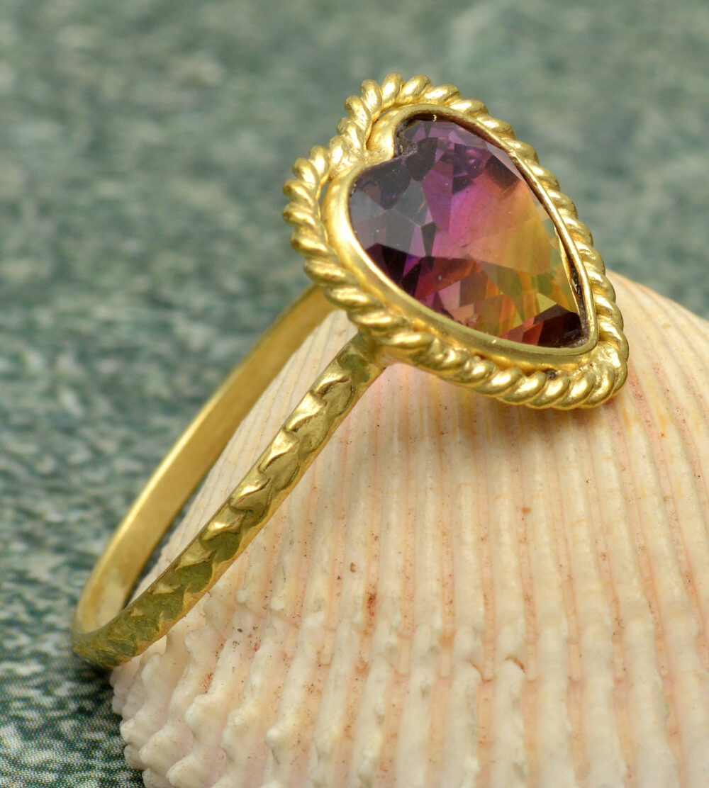 Beautiful Mystic Topaz, Heart Shape Cut Gemstone Ring, Brass Ring, Mother's Day Ring, Unique Ring, Women's Ring, Ring For Mom, Mother's Ring
