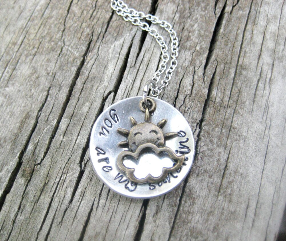 You Are My Sunshine, Hand Stamped Necklace, Mother Daughter Gift, Sister Sun Jewelry, Mother's Day Gift From Mom