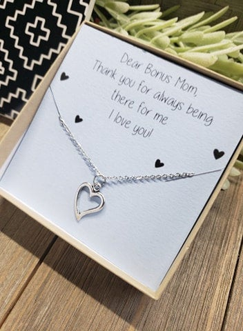 Bonus Mom Heart Necklace, Mother Jewelry, Gift For Her, Mother's Day Gift, Birthday Sweet Card, Step Mom, Child
