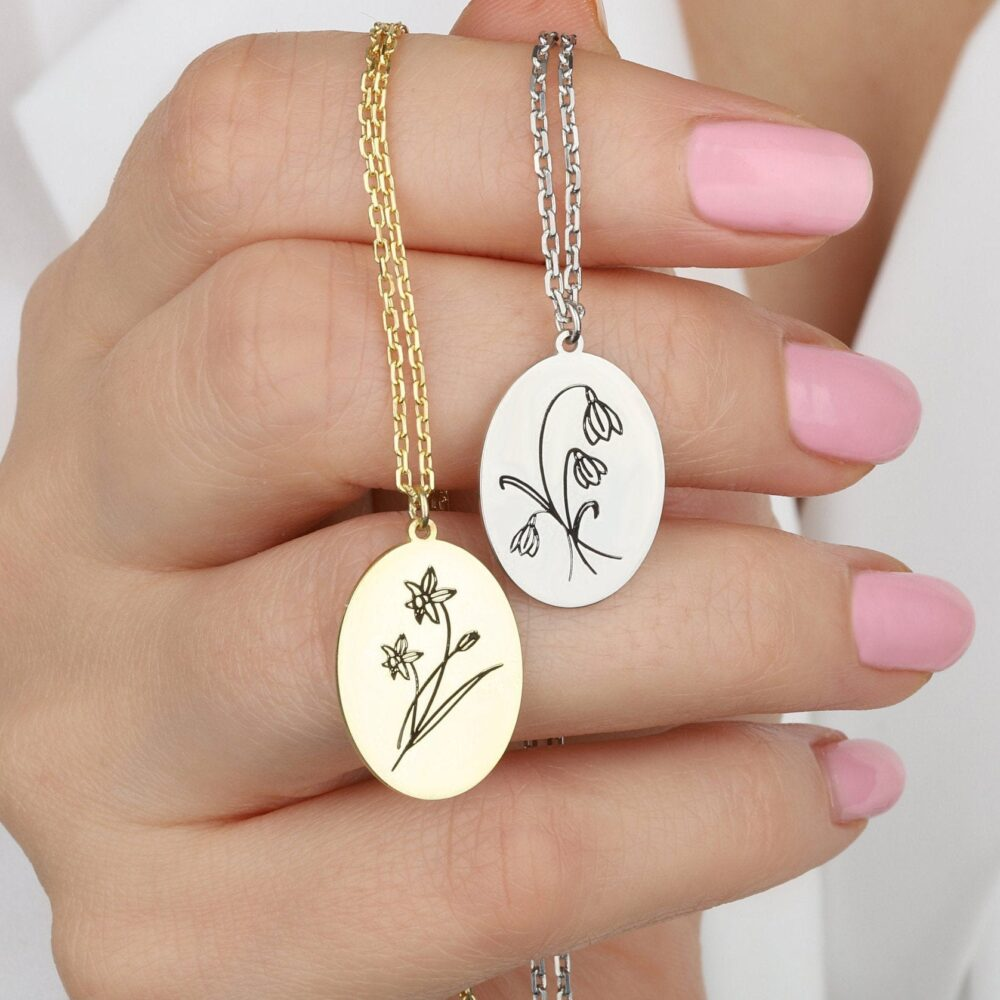 Birth Flower Necklace, Personalized Gifts, Mothers Day Gold Necklace For Mothers, Gifts