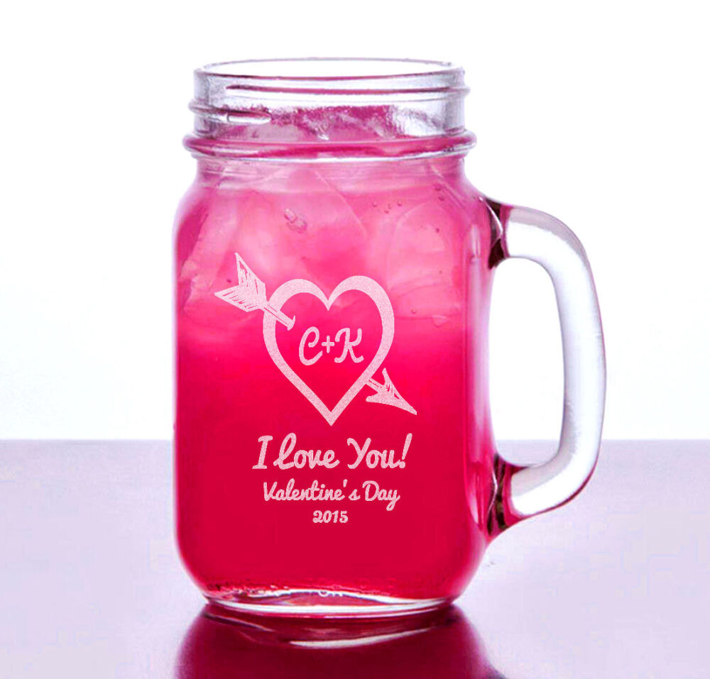 Valentines Day 2020 Heart Arrow Personalized Mason Jar 16Oz Glass Romantic Couple Gift Boyfriend Girlfriend Mug