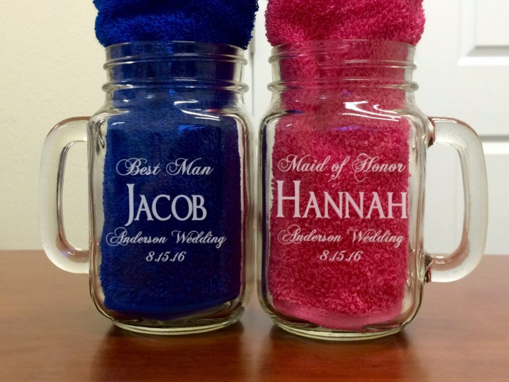 Personalized Mason Jar, Bridesmaid Gift, Groomsmen Gift, Wedding Party Custom Engraving, Monogrammed For Free