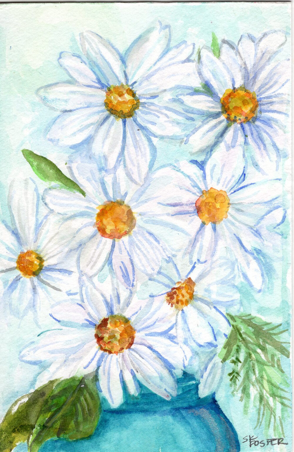 Daisies Original Watercolor Painting in Mason Jar Art, Small Floral 4 X 6 Home Decor, Mother's Day Gift