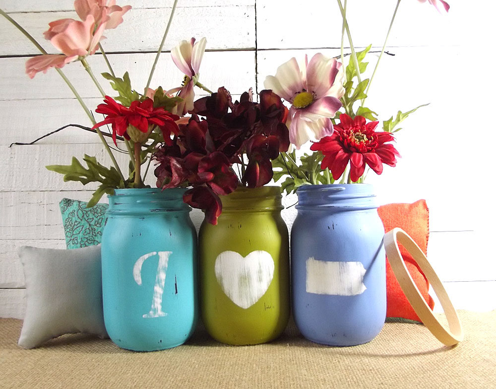 Pennsylvania State Art, Pride Gift, Personalized Mason Jar Decor, Housewarming Painted Jars, New Home Gift