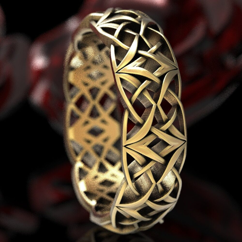 Celtic Gold Love Knot Ring, Woven Wedding Viking Band, Norse Ring 10K 14K 18K Or Platinum 1299