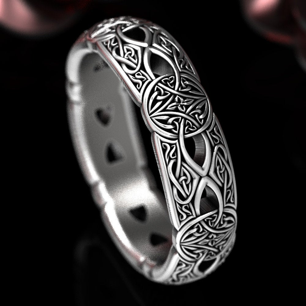 sterling Silver Eternity Celtic Band, Infinity Love Wedding Knotwork Ring, Irish Woven Ring Protection Shield 1407