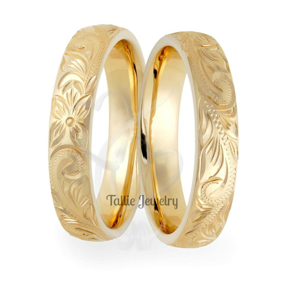 Hand Engraved Wedding Bands, Rings, His & Hers 10K 14K 18K Solid Yellow Gold Rings