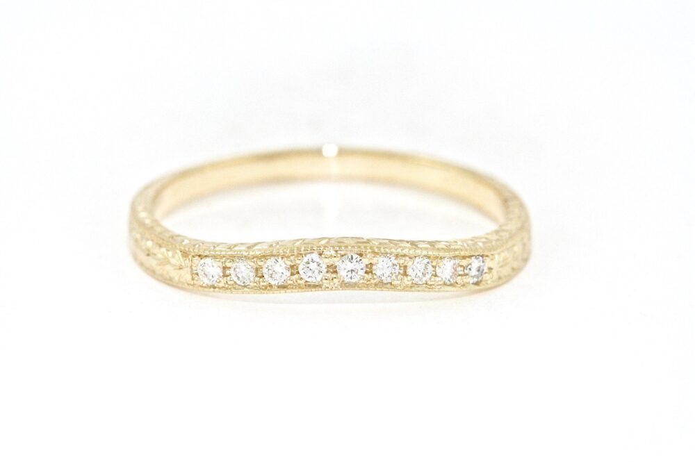 14Kt Yellow Gold & Diamond Curved Hand Engraved Wedding Band