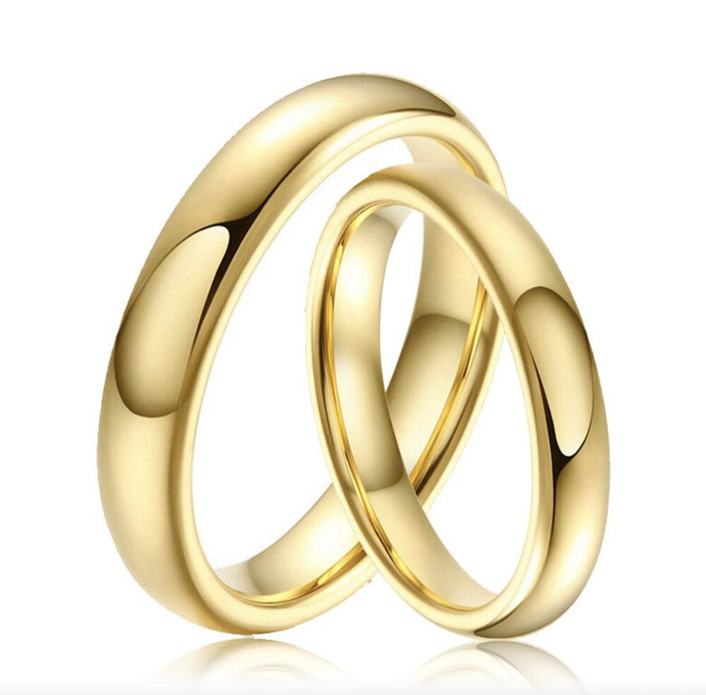 Custom Engraving - His & Hers 3mm/3mm Tungsten Carbide Classic Yellow Gold Plated Wedding Band Ring Set