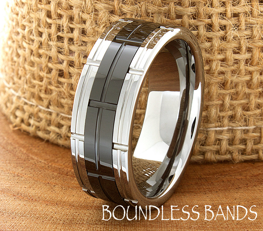 Tungsten Wedding Bands Mens Ring Band 8mm Anniversary His Hers Set Flat Brick Pattern Laser Engraved Classic New