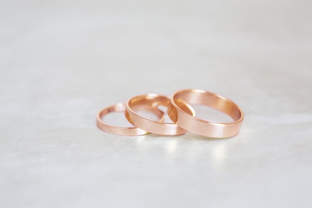 Rose Gold Band, 10K, 14K, 18K 2mm, 3mm, 4mm, 5mm, 6mm Flat Band You Choose Width & Thickness
