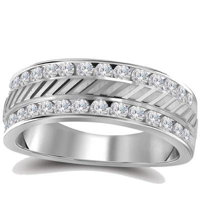Solid 14K Gold Diamond Mens Wedding Band 0.50Ct Sku 114573