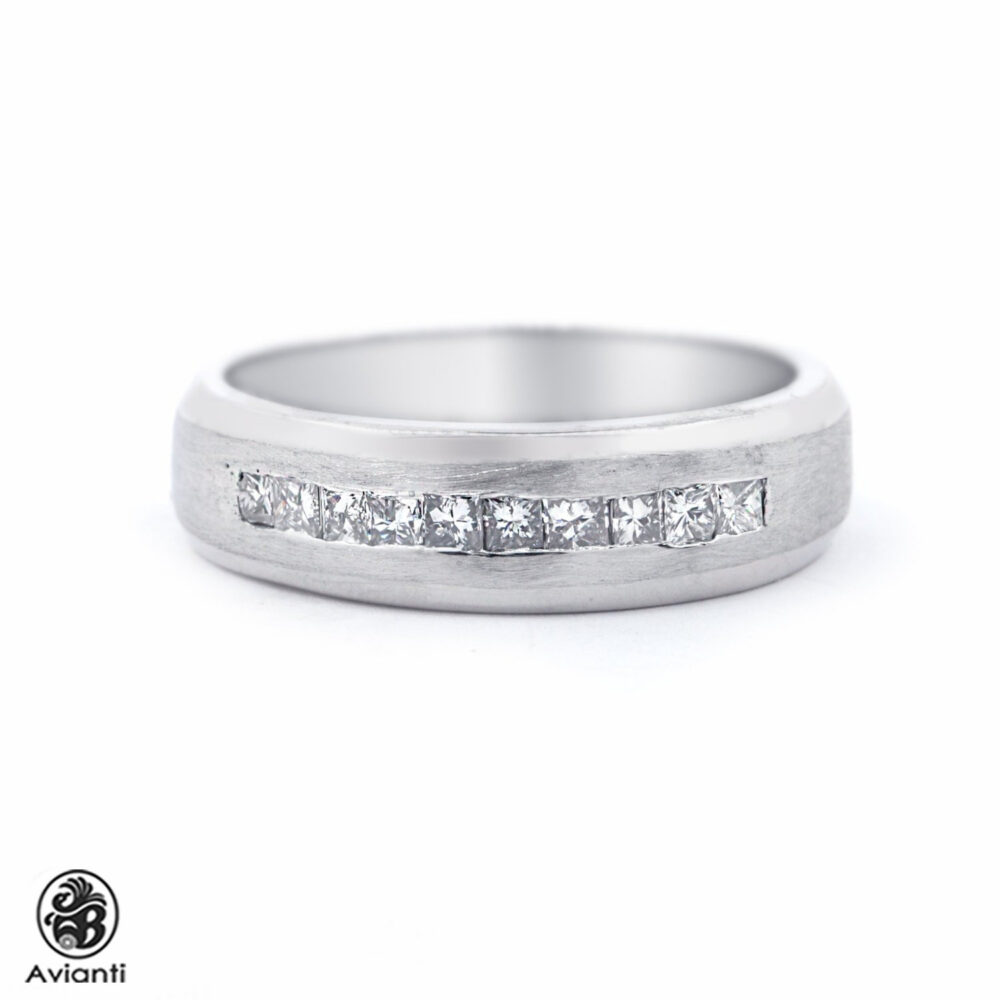 Wedding Band, Diamond Band, Men's Band, Satin Finish White Gold Band, White Band With Princess Diamonds| Mr01117