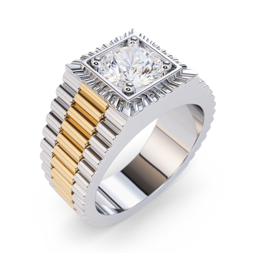 2.00 Carat Diamond Solitaire Gents Rolex Ring/Men's Band Solid Gold For Men 18K