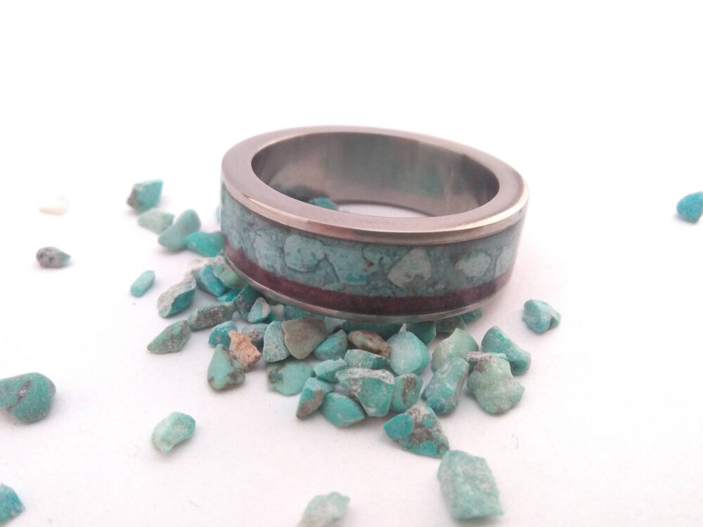 Mens Titanium Ring, Titanium Band, Wedding Turquoise Stone & Purple Heart Wood Inline, Unique Mens Band