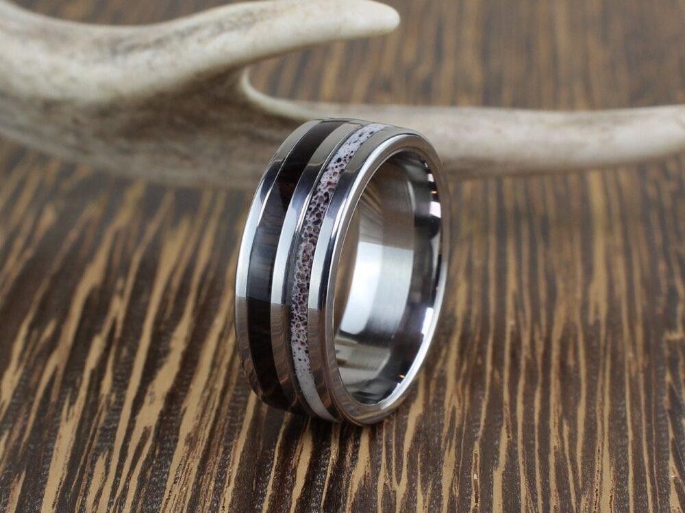 Bagpipe Wood & Deer Antler Ring, Mens Titanium Band, Men's Wooden Rings, Wedding Bands Wood, Man Ring