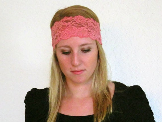 Pink Lace Headband/Sale /3 Inch Stretch Hairband, Rose Head Wrap, Comfortable Bridesmaid Headbands For Teen Women's Wedding Guide