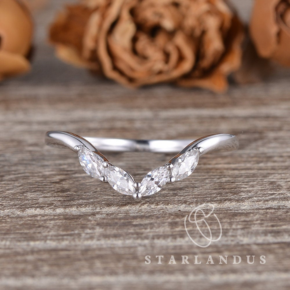 Marquise Moissanite Weeding Band Women White Gold Custom Curved Ring Cluster Enhancer Guard Natural Diamond Stacking