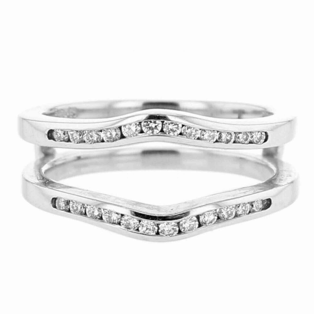 1.00 Ct Round Cut Simulated Diamond Solitaire Channel Set Wedding Band Enhancer Guard Wrap Ring 14K White Gold Over 925 Sterling Silver
