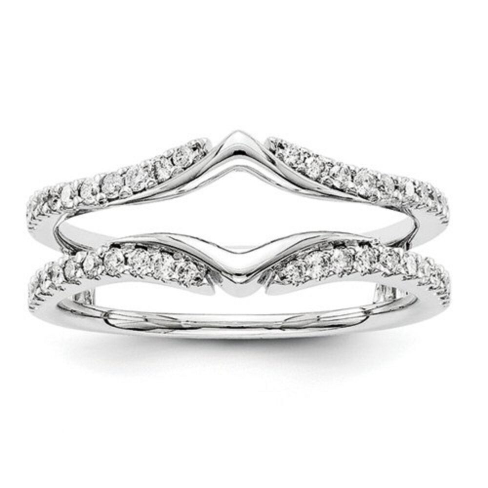 Women Anniversary Wedding Band Enhancer Guard Ring 0.75 Ct Simulated Diamond 14K Gold Plated Sterling Silver