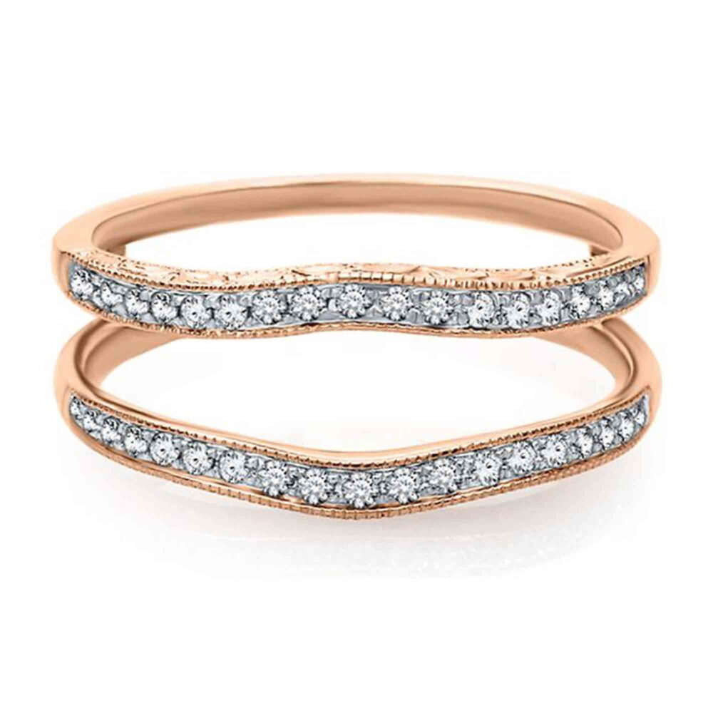 14K Rose Gold Plated Sterling Silver Round Cut 0.35Ct Simulated Diamond Women Wedding Band Enhancer Guard Ring