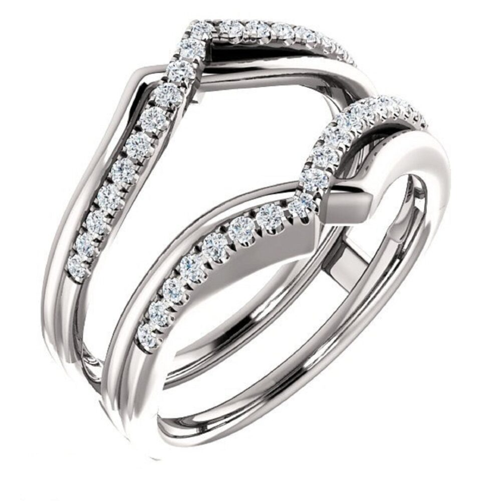 Women Anniversary Wedding Band Enhancer Guard Ring 0.25 Ct Simulated Diamond 14K Gold Plated Sterling Silver