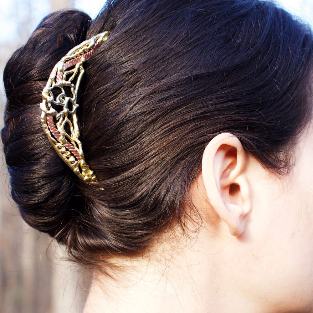 French Twist Comb, Tiara, Roses, Wedding Hair, Bronze Jewelers, Gold, Silver, Copper