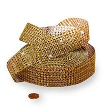 Mesh Sparkle Gold Jewel Ribbon - 1-1/2 X 9yd - Cords by Paper Mart