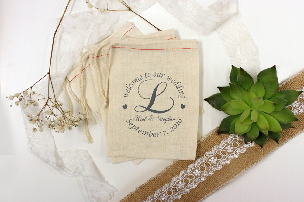 Custom Wedding Favor Bags, Printed Muslin Personalized Favors, Welcome To Our Wedding, Couple's Names, 4 X 6 64512-Mb03-610