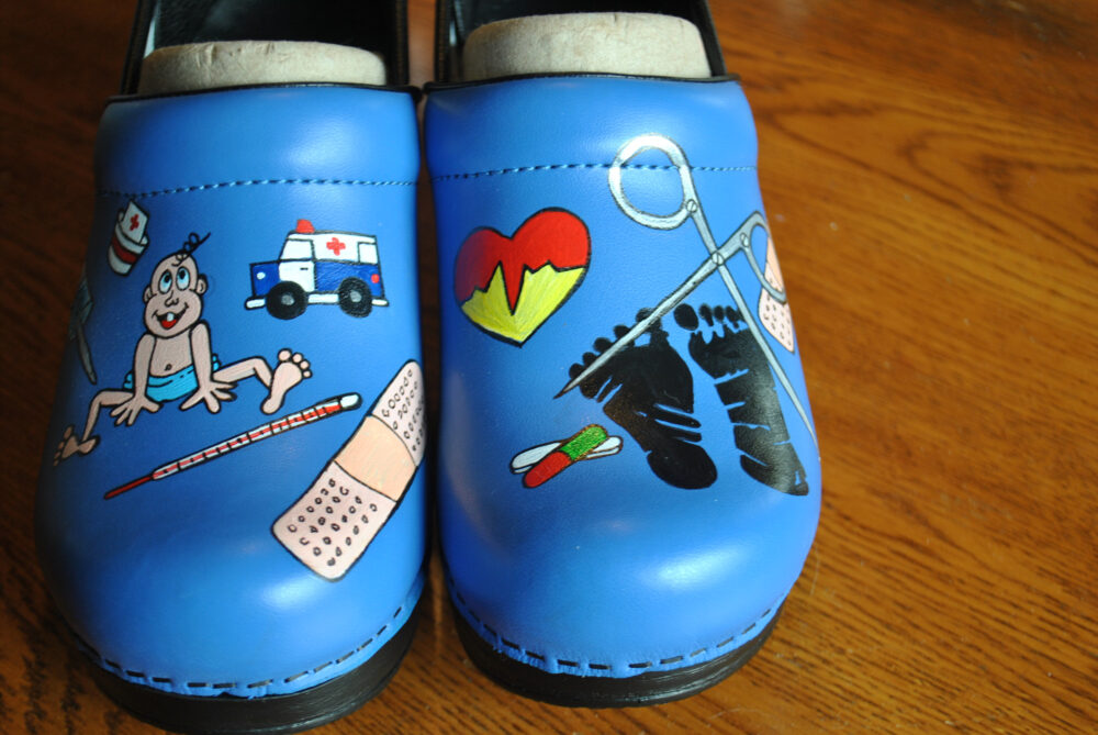 Custom Hand Painted Cobalt Blue Nurses Shoes For Ped Nurse. I Love You Guys -Sorry Sold Please Note This Price Does Not Include The