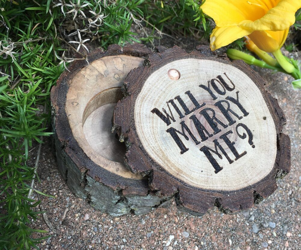 Proposal Ring Box, Will You Marry Me Engagement Wood Rustic Country Wedding Gifts Holder Laser Engraved Wooden Sign Gift