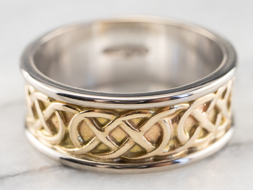 Celtic Knot Patterned Band, Wedding Two Tone Gold Men's Vintage 2Wjq3Qdj