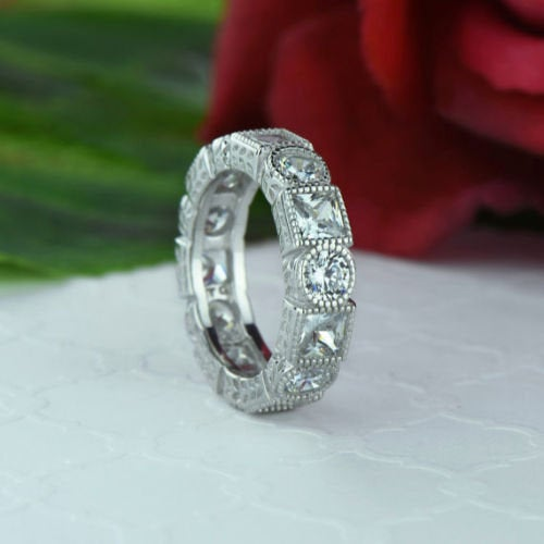 Round & Pricess Cut Cz Diamond Solitaire Bezal Setting Engagement Band, Wedding Anniversary Band in 925 Sterling Silver