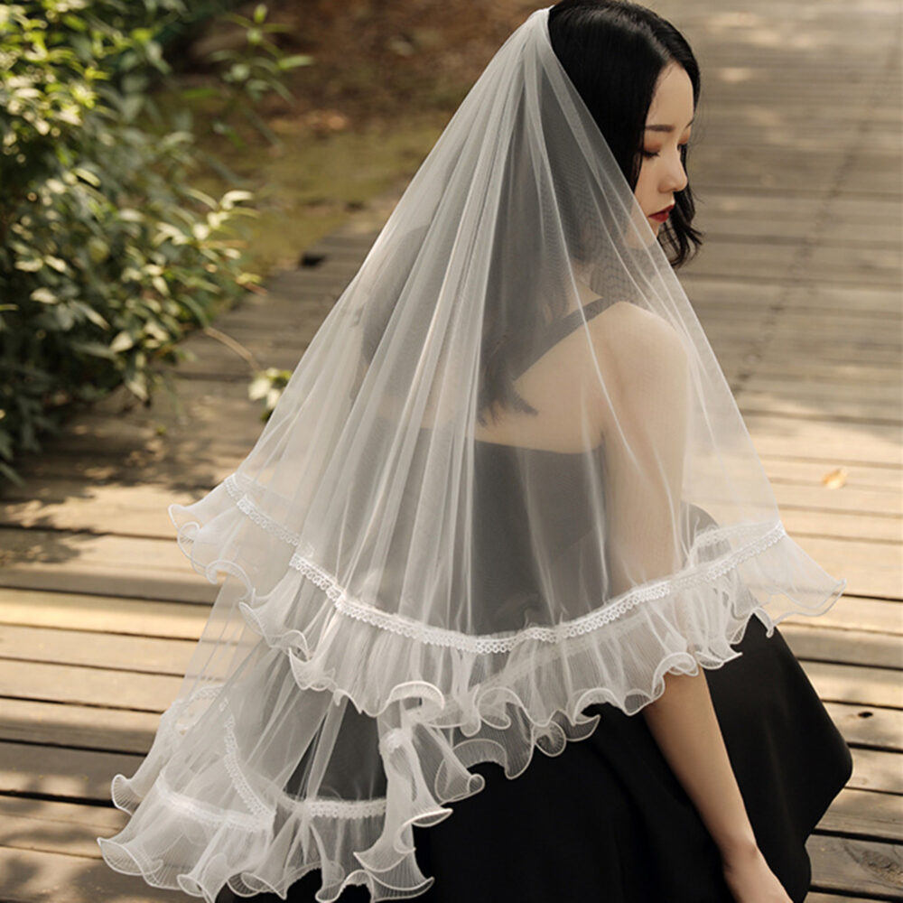 White Lace Veil With Wave Trim, Simple Veil, Bridal Veil, Wedding Veil, Party Deco