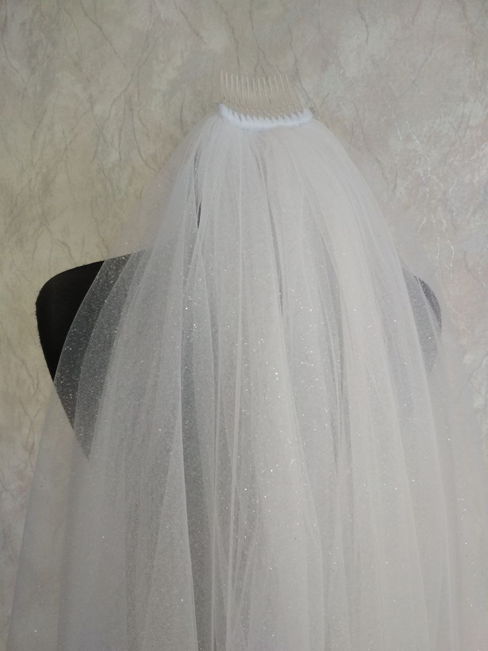 Glitter Wedding Veil 2Tier Glitter Bridal Sparkle Tulle With Two Tier Raw Cut Edge Cathedral Long Sparkling