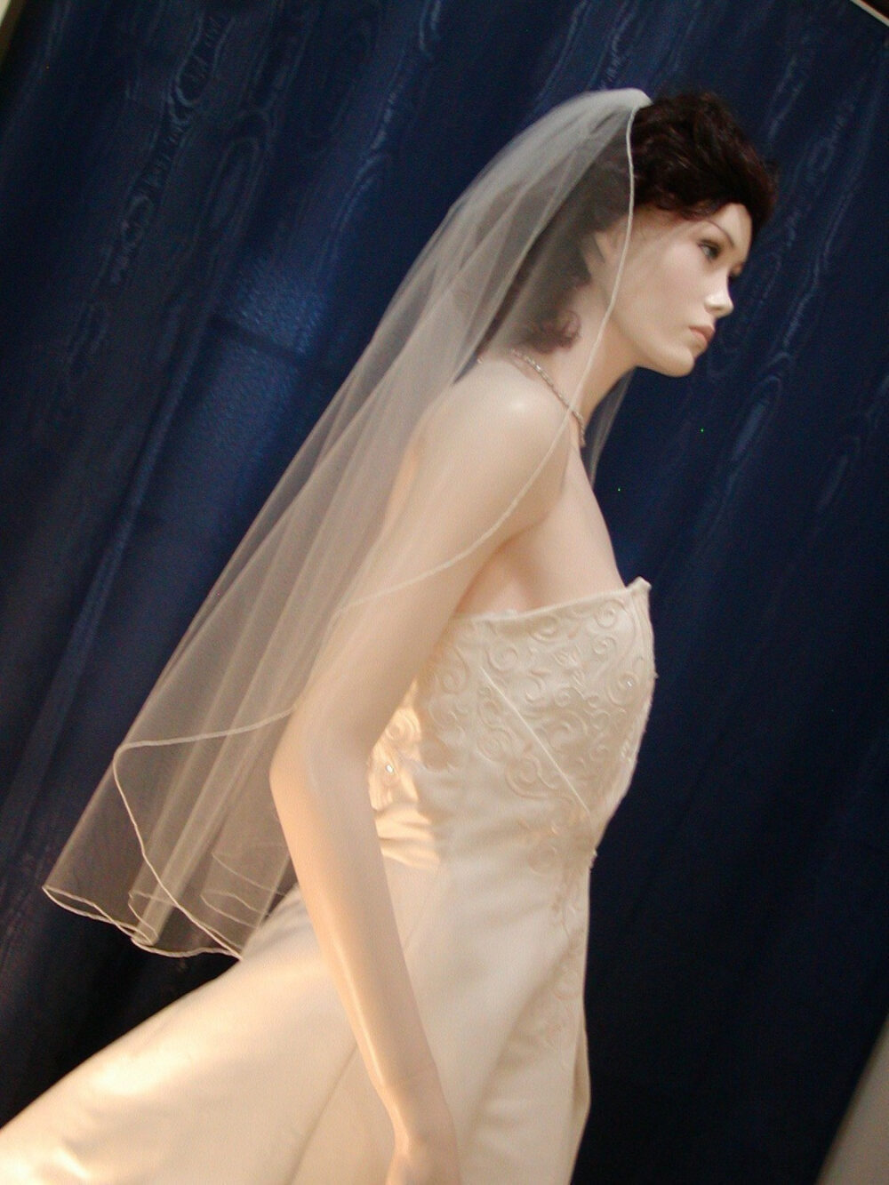 Wedding Veil Bridal Fingertip Length Cascading Waterfall Style With Delicate Pencil Edge Sale