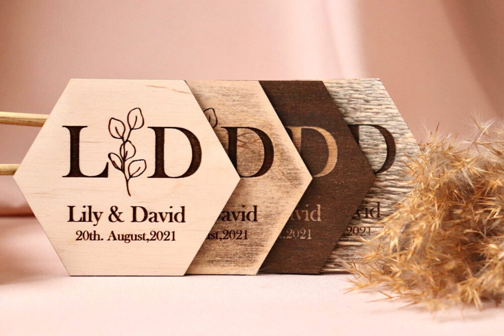Wood Coasters Wedding Personalized Wedding Favors Drink Custom Gift