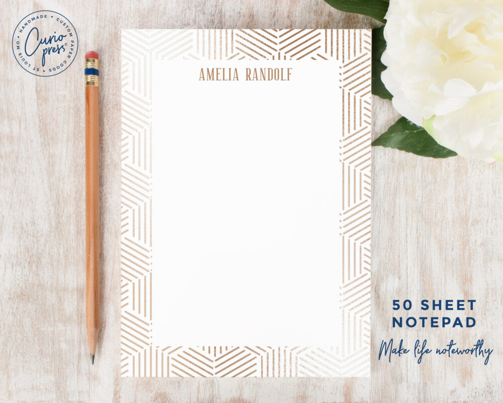 Personalized Notepad - Glamour Stationery/Stationary 5x7 Or 8x10 Elegant Classy Gold Womens Mens Geometric Lines Gift For Him