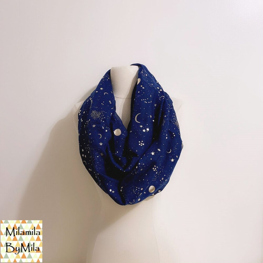 Galaxy Infinity Scarf, Gold Foil, Moon & Stars Print Scarf, Gold Foiled Fashion Ladies Scarves, Womens Scarves