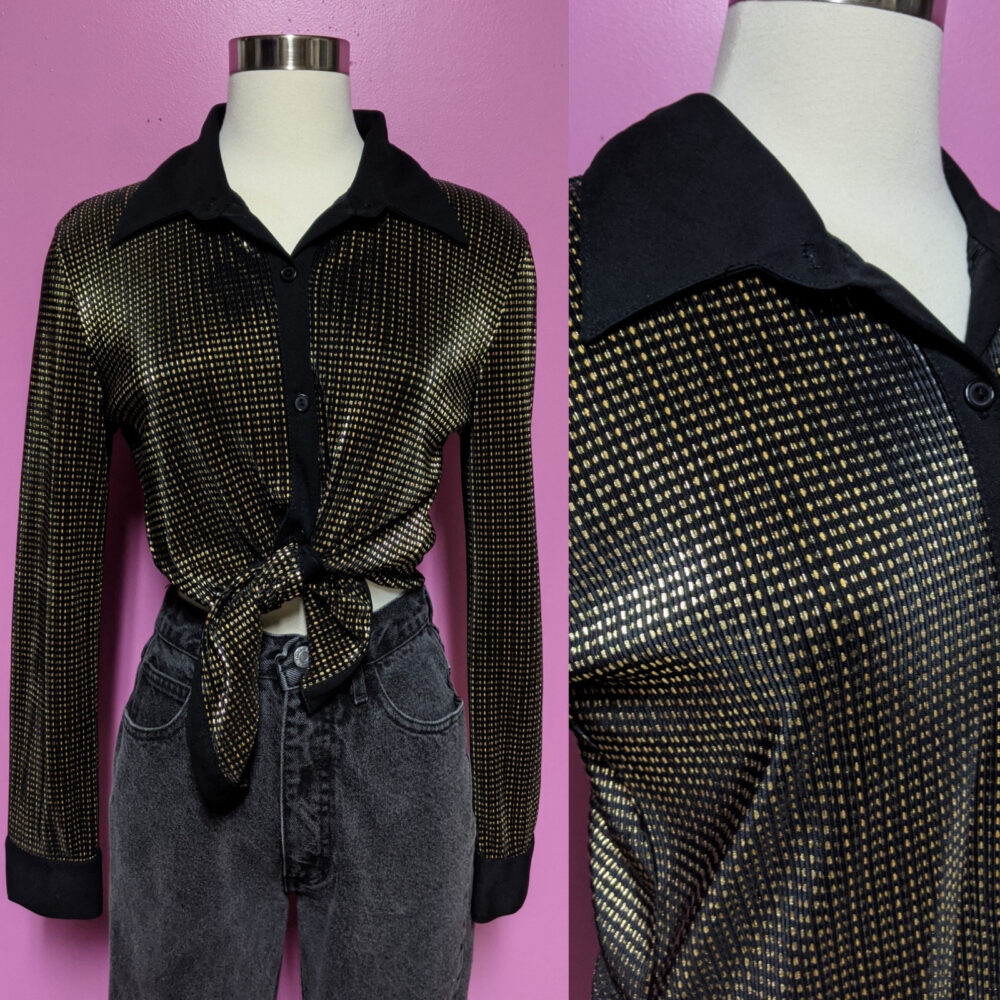 J.t.b/90's Polyester Gold Disco Blouse/Size Large/Women's Button Up Blouse