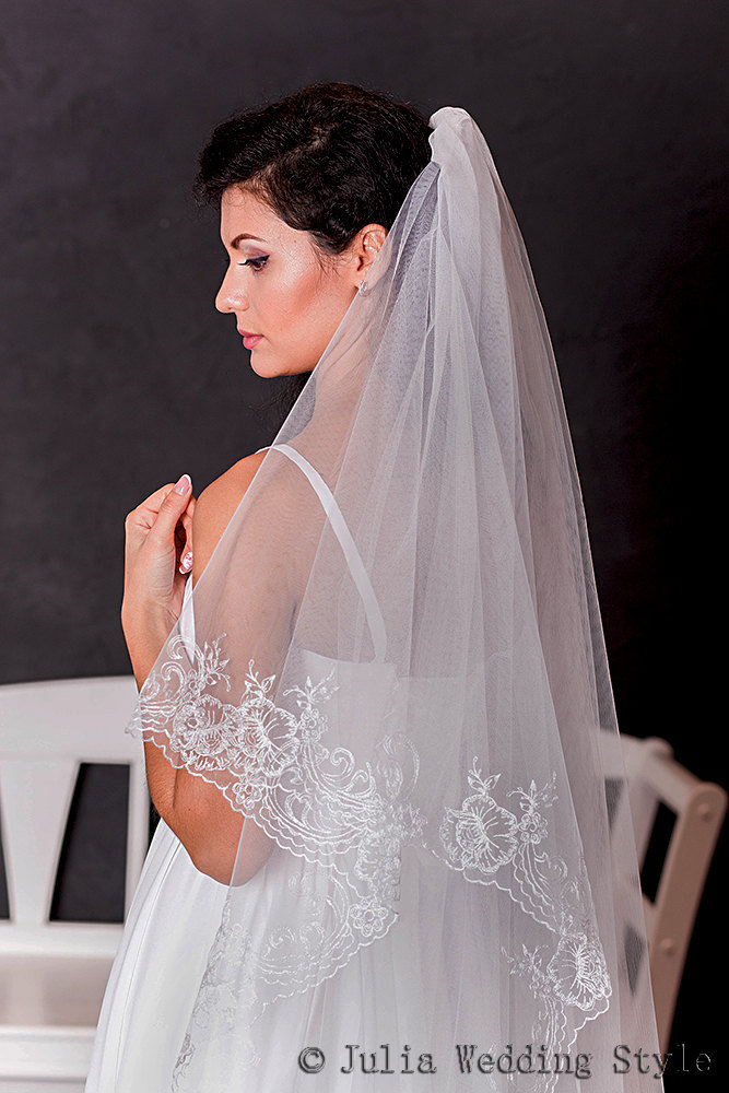 Waltz Length, Lace Veil, Embroidered Veil, Length Veil, Layered Wedding Veil, Bridal Veil, Couture Veil, Two Tier Veil, White Veil, Long Veil