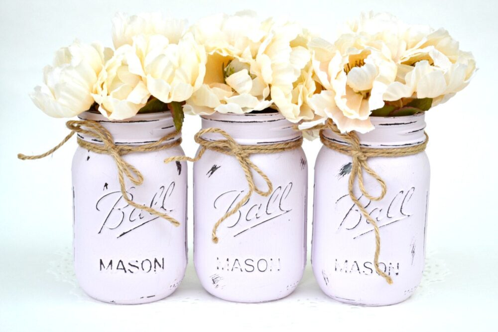 Painted Mason Jars, Jar Decor, Centerpiece, Bulk, Wedding Spring Jars