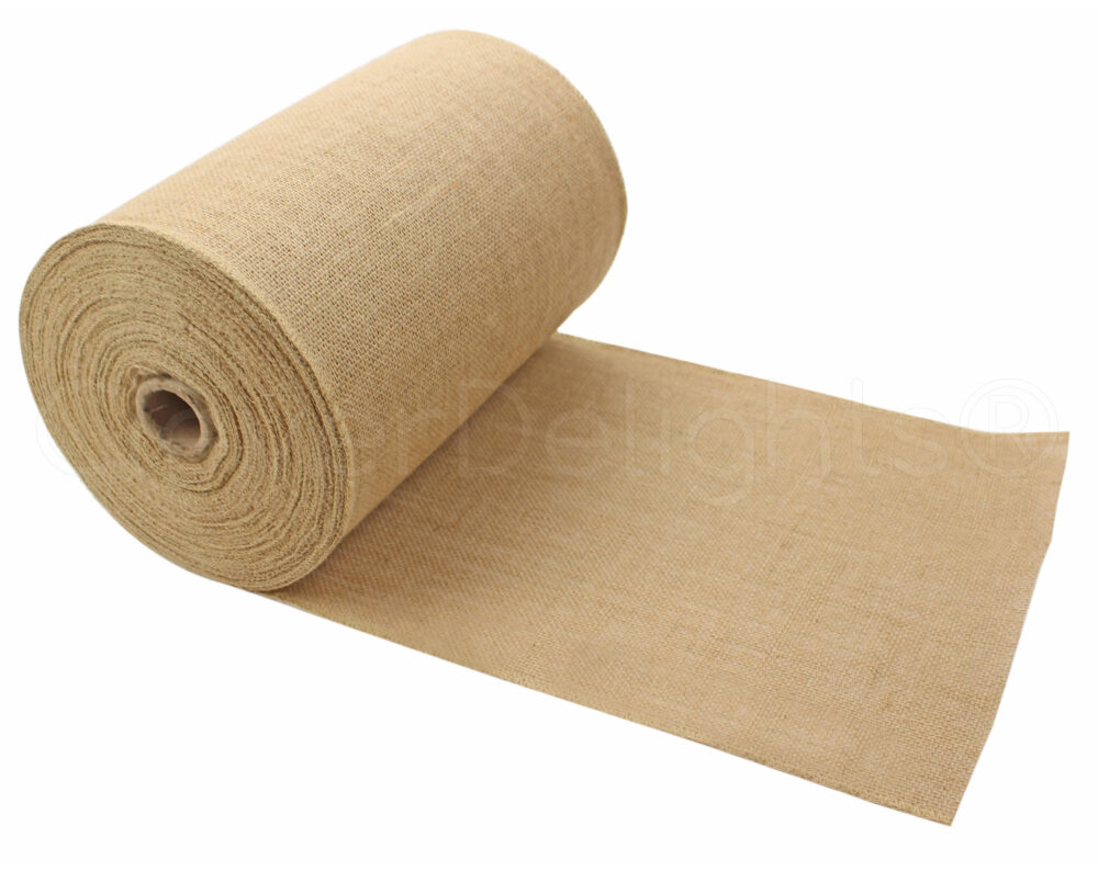 """50 Yards - 12"""" Premium Burlap Roll Finished Edges Eco-Friendly Natural Jute Fabric For 12 Inch Table Runners & Rustic Decor"""