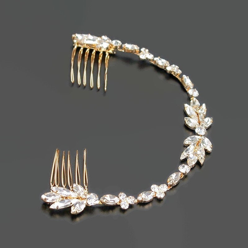Bridal Hair Accessory Wedding Headpiece Gold Comb With Marquise Crystals Back Of Head Jewelry Vine Mother The Bride Gift