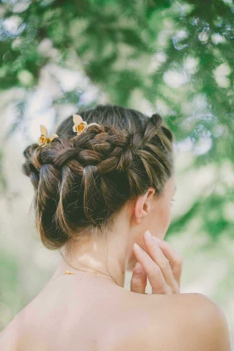 Gold Rose Wedding Hair Accessories Combs Bridal Flower Belle Beauty & The Beast Womens Gift