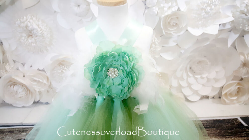 Sage Flower Girl Tutu Dress-Sage Tutu-Sage Birthday Wedding Baby Bride