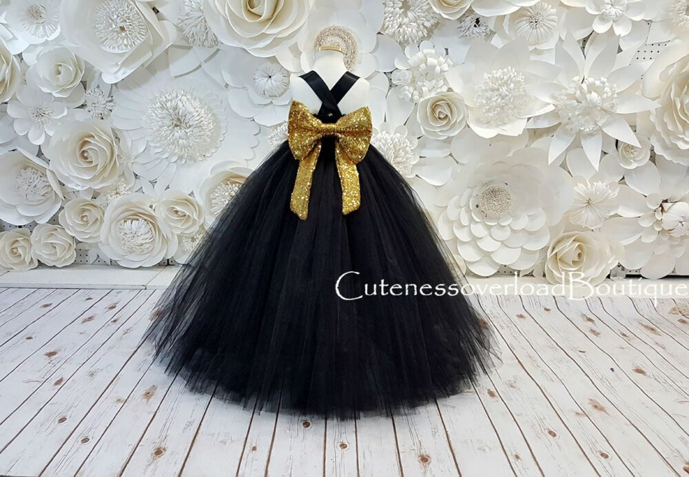 Black Dress-Black Fancy Tutu Flower Girl Girls Wedding Baby Dress
