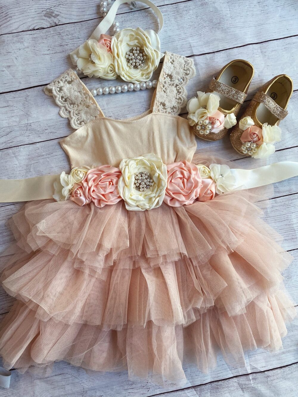 Champagne Flower Girl Dress, 1Ers Birthday Lace Top, Baby Toddler Dress, Tulle Tutu Flower Holiday Dress