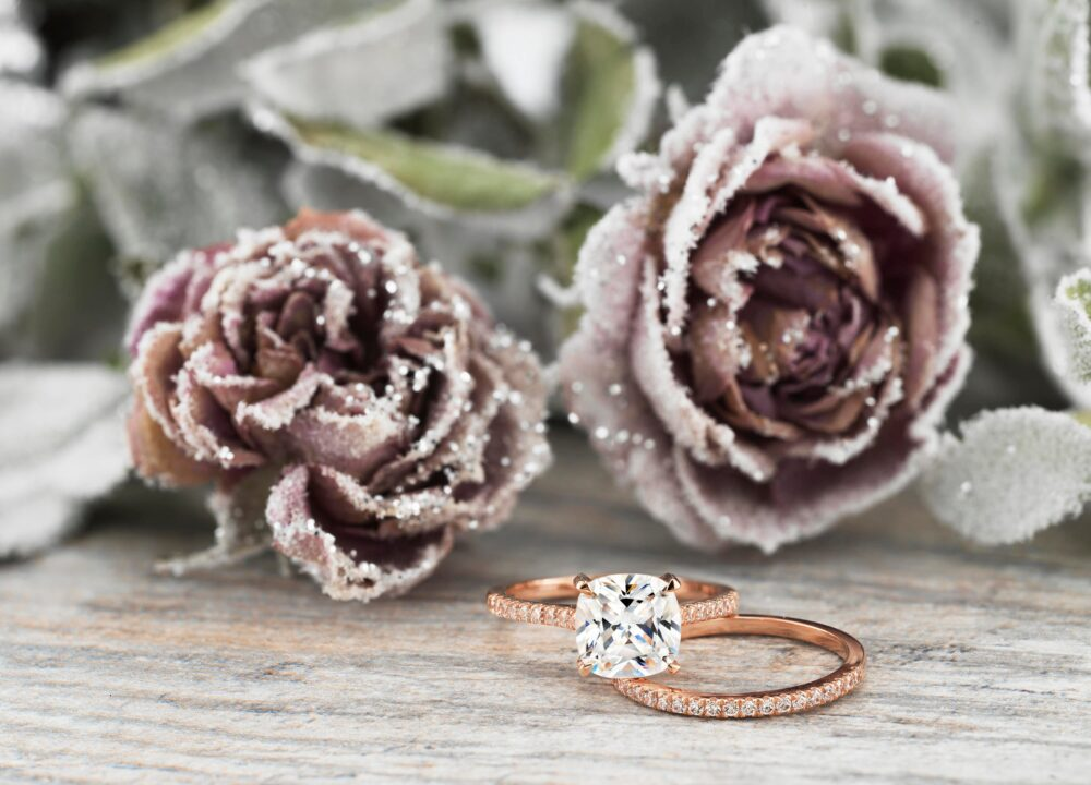 Rose Gold Cushion Cut Wedding Set, Cut, Forever One Moissanite Bridal White Sapphire Ring, Solitaire Set
