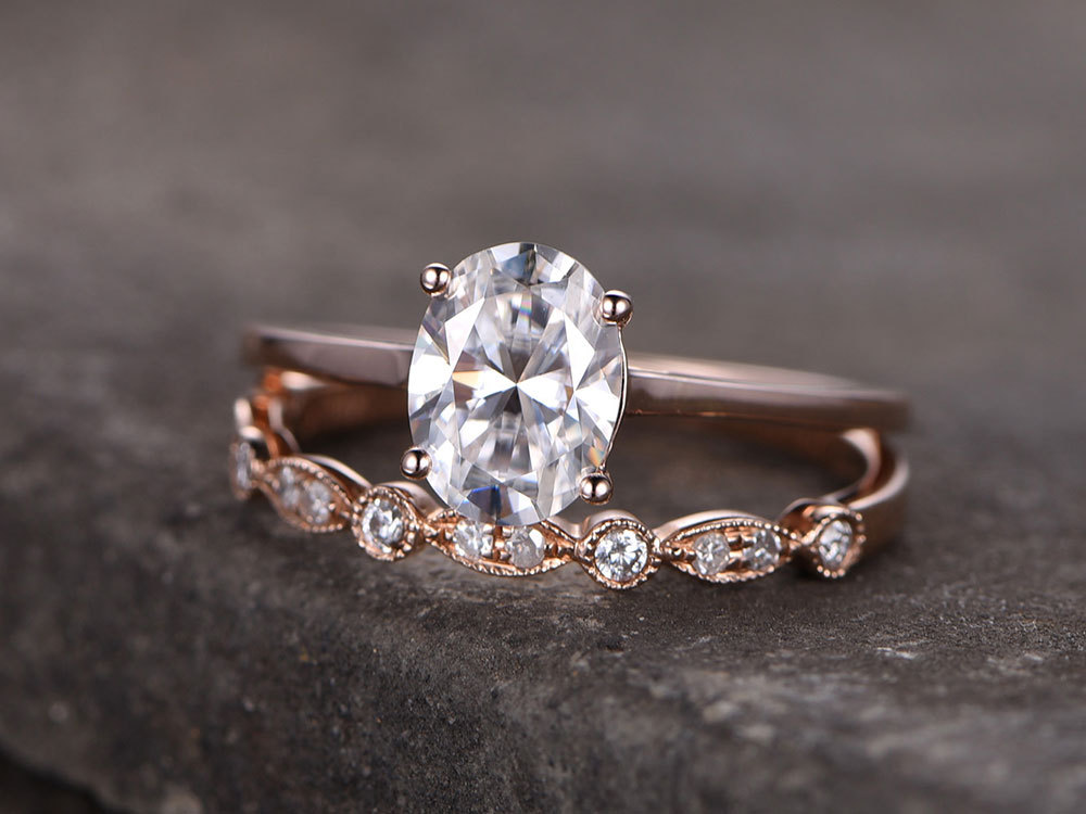 Oval Sterling Silver Ring Set/Cubic Zirconia Wedding Band/Cz Engagement Ring/Stack Ring/2Pcs Matching Ring/Promise Ring/Rose Gold Plated